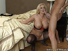 Huge star's tits and long legs in black stocking is a classic porn star movie