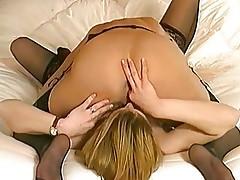 British slut Cheryl in lesbian action in a classic scene
