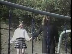 Vintage school girl fucked on the playground