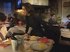 Vintage Brunette in Restaurant Restroom
