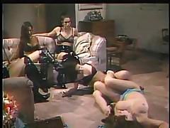 Hot lesbian sluts in orgy tribbing