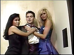 Stud take two prom dates to a hotel threesome.